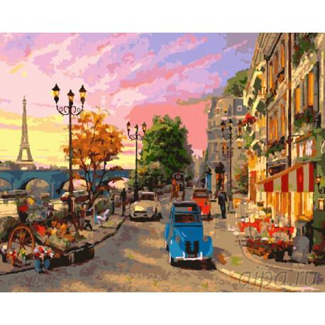 Узкие улочки Парижа Раскраска картина по номерам на холсте GX9164