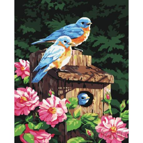G161 Птички в саду Раскраска картина по номерам на холсте ...