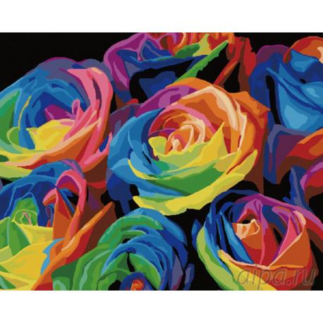 Радужный букет роз Раскраска картина по номерам на холсте G057