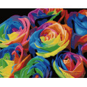 Радужный букет роз Раскраска картина по номерам на холсте