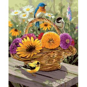 Птицы на корзинке с цветами Раскраска картина по номерам на холсте GX8550