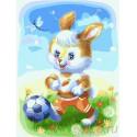 Зайчонок футболист Раскраска картина по номерам на холсте