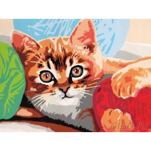 Котенок и клубок Раскраска картина по номерам на холсте EX5066