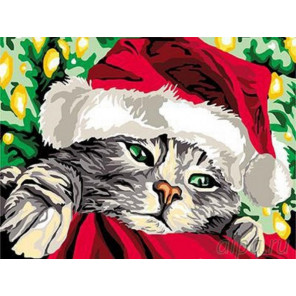 Новогодний котенок Раскраска картина по номерам на холсте EX5563