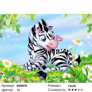 Количество цветов и сложность Маленькая зебра Алмазная частичная вышивка (мозаика) Molly KM0070