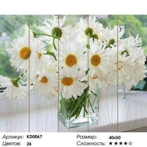 Количество цветов и сложность Ромашки в вазе Картина по номерам на дереве Molly KD0067