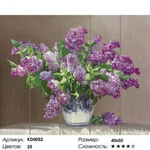 Количество цветов и сложность Сирень Картина по номерам на дереве Molly KD0052
