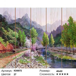 Количество цветов и сложность Весна в горах. Сунг Ли Картина по номерам на дереве Molly KD0072