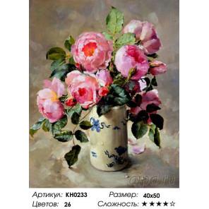 Количество цветов и сложность Розовый букет из сада Раскраска картина по номерам на холсте Molly KH0233