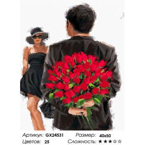 Количество цветов и сложность Розы для любимой Раскраска картина по номерам на холсте GX24531