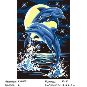 Количество цветов и сложность Лунные дельфины Раскраска по номерам на холсте Molly KH0257