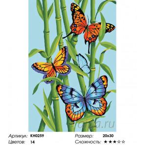 Количество цветов и сложность Яркие бабочки Раскраска по номерам на холсте Molly KH0259