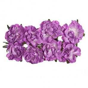 Розы кудрявые сиреневые 8шт Цветы бумажные Украшение для скрапбукинга, кардмейкинга Scrapberry's
