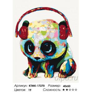 Количество цветов и сложность Музыкальная панда Раскраска по номерам на холсте Живопись по номерам KTMK-17270