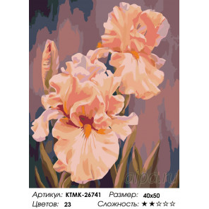 Количество цветов и сложность Розовые ирисы Раскраска по номерам на холсте Живопись по номерам KTMK-26741