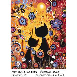 Количество цветов и сложность Кошечки на лужайке Раскраска по номерам на холсте Живопись по номерам KTMK-68372