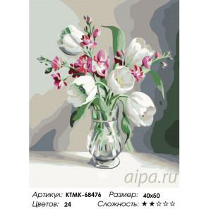 Раскладка Белые тюльпаны Раскраска по номерам на холсте Живопись по номерам KTMK-68476