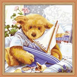 Мишки Тедди Парусник 40х40 Раскраска по номерам акриловыми красками на холсте Hobbart