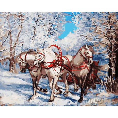 Тройка белых лошадей Раскраска картина по номерам на холсте GX26438