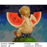 Количество цветов и сложность Ангелочек с арбузом Раскраска картина по номерам на холсте GX26480