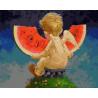 Ангелочек с арбузом Раскраска картина по номерам на холсте GX26480