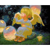 Ангелочек с мыльными пузырями Раскраска картина по номерам на холсте GX26481