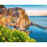 Цветные домики у моря Раскраска картина по номерам на холсте GX26443