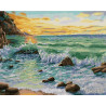 Закат на морском побережье Раскраска картина по номерам на холсте GX26487