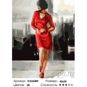 Количество цветов и сложность Девушка в красном платье Раскраска картина по номерам на холсте GX26489