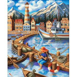 Портовый городок Алмазная вышивка мозаика АЖ-1697