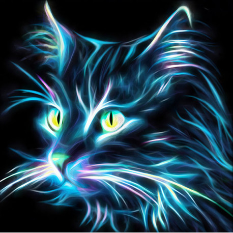 Неоновый кот Алмазная вышивка мозаика АЖ-1709