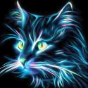 Неоновый кот Алмазная вышивка мозаика