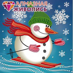 Снеговик лыжник Алмазная вышивка мозаика АЖ-3011