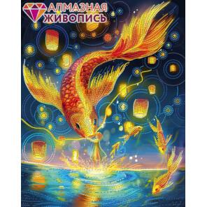 Огненные карпы Алмазная вышивка мозаика АЖ-3026