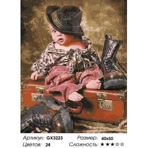 Количество цветов и сложность Мальчик в шляпе Раскраска картина по номерам на холсте GX3223