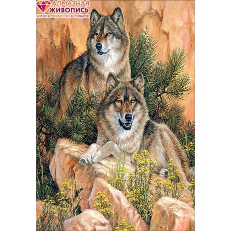 Пара волков Алмазная вышивка мозаика АЖ-1052