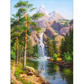 Горный водопад Алмазная вышивка мозаика АЖ-1347