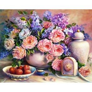 Розовый натюрморт Алмазная вышивка мозаика АЖ-1374