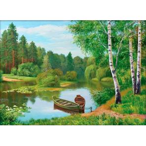 Лодки у берега Алмазная вышивка мозаика АЖ-1244