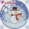Новогодний шарик со снеговиком Алмазная вышивка мозаика АЖ-1258