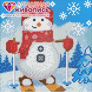 Снеговик на лыжах Алмазная вышивка мозаика АЖ-1270