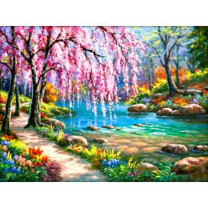 Сакура у реки Алмазная вышивка мозаика АЖ-1328