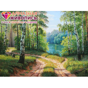 Дорога среди берез Алмазная вышивка мозаика АЖ-1332