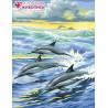 Семья дельфинов Алмазная вышивка мозаика АЖ-1062