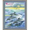 В рамке Семья дельфинов Алмазная вышивка мозаика АЖ-1062