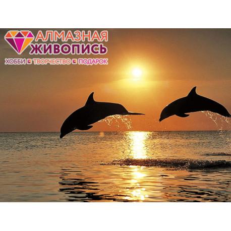 Игры дельфинов Алмазная вышивка мозаика АЖ-1089