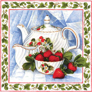 Чай с клубникой Алмазная вышивка мозаика АЖ-1442