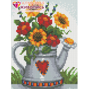 Лейка с цветами Алмазная вышивка мозаика АЖ-1453