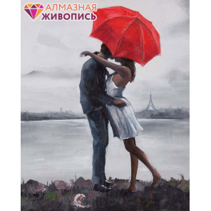 Поцелуй под зонтом Алмазная вышивка мозаика АЖ-1408
