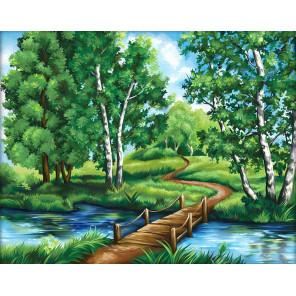 Березы у реки Алмазная вышивка мозаика АЖ-1627